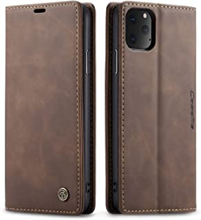 Multifunction Leather Zipper Wallet Phone Case With Folio and Magnetic Buttons for iPhone11 Pro Max(6.5),E