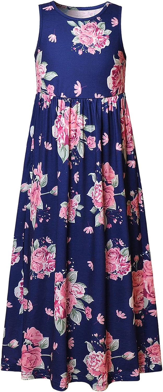 Girl Maxi Dress with Pockets Summer Floor Length Floral Sleeveless/Short Sleeve