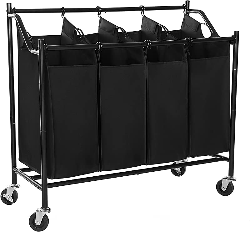SONGMICS Heavy Duty 4 Bag Rolling Laundry Sorter Storage Cart With Wheels Black URLS90H