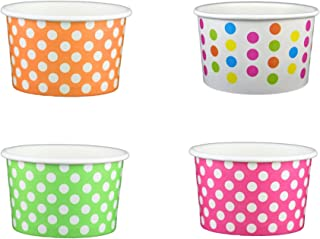 Black Cat Avenue Paper Ice Cream Cups, Polka Dot, Mix, 4 Ounce, 50 Count
