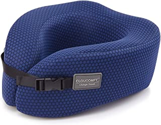 """CLOUCOMFT Memory Foam U-Shaped Travel Neck Pillow Adjustable with Washable Cover for Adult, Neck Cushion for Airplane, Car, Bus, Memory Foam, Ocean Blue, 10.1 x 9 x 4.7"""""""
