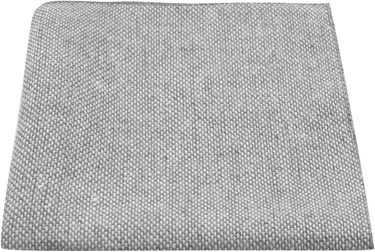Highland Weave Stonewashed Light Grey Pocket Square, Handkerchief