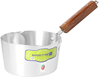 Royalford 6inch Alum.Milk Pan With Wooden Handle, Silver, RF8991