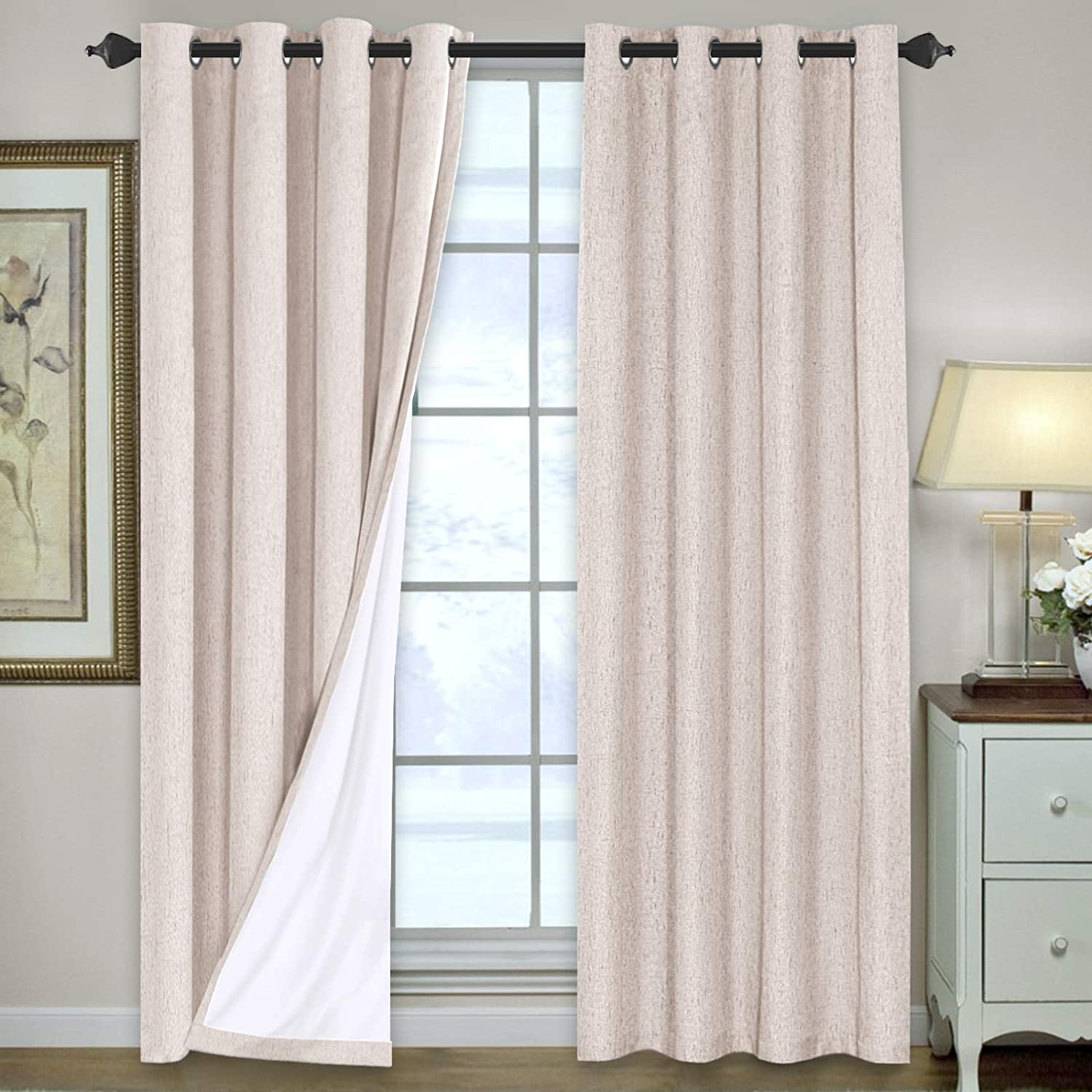 Linen Blackout Curtains 84 Inches Long 100% Total Blackout Heavy-Duty Draperies for Bedroom Living Room Thermal Insulated Textured Functional Window Treatment Anti Rust Grommet (Natural, 2 Panels)