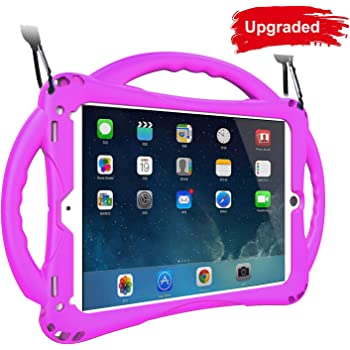 TopEsct Kids Case for iPad 9.7 2018/2017, Shockproof Silicone Handle Stand Case Cover&(Tempered Glass Screen Protector) for iPad Air 1/2,iPad 5th/6th Gen. and iPad Pro 9.7(Purple)