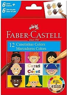 Canetinha, Faber-Castell, Caras & Cores, 15.0112CCZF, 6 Cores + 6 Tons de Pele