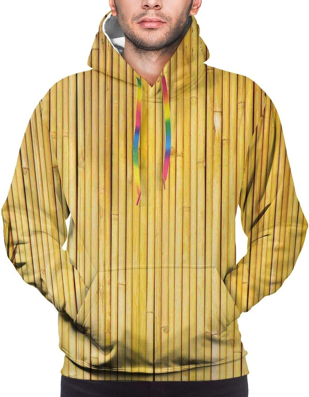 Men's Hoodies Sweatshirts,Bamboo Stems and Blooming Flower Antique Grunge Background Oriental Artwork