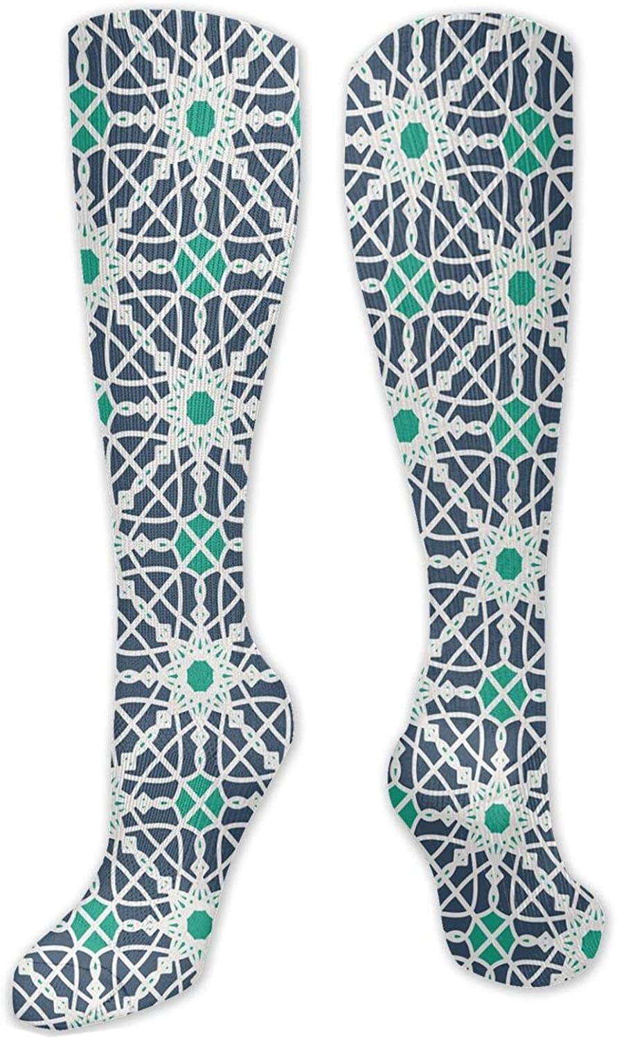 Compression High Socks Arabesque Floral Element Geometrical With Free Shipping New Max 78% OFF