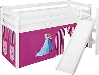 Lilokids Lit de jeu JELLE Reine des Neiges - Rose - Lit mezzanine blanc - Avec toboggan incliné et rideau