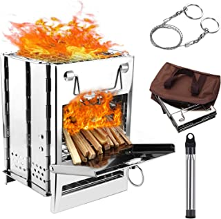 WADEO Wood Burning Camp Stove, Stainless Steel Folding Camp Stove, Portable Backpacking Wood Stove with Pocket Fire Bellow...