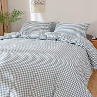 Eforcurtain Light Blue 100% Washed Cotton Duvet Cover Set, 3 Pieces Luxury Soft Bedding Set Modern Checkered Duvet Cover Queen Size 90x90 inches (1 Duvet Cover + 2 Pillow Shams)