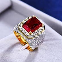 Prachtige Man Vrouw Grote Rode Verlovingsring Schattige Geelgouden Sieraden Zirkoon Stenen Ring Vintage Trouwringen Voor M...