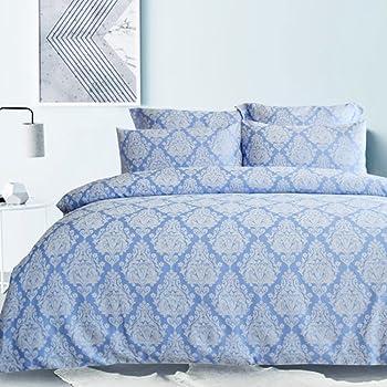 Merryfeel Duvet Cover Set,Classic Damask Jacquard Bedding Set,3 Pieces (1 Duvet Cover with 2 Pillowshams) - Full/Queen --Blue
