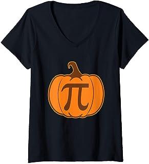 Femme Pumpkin Pi Funny Math Teacher Play On Words T-Shirt avec Col en V