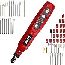 Mini Amoladora, SPTA AMRT55DCEU 3.7V Amoladora Electrónica DC, Herramienta Rotativa USB Recargable con 60 pcs Accesorios para los DIY Trabajos de Pulir