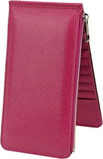 Womens Wallet RFID Blocking Bifold Genuine Leather Multi Card Organizer Wallet with Zipper Pocket