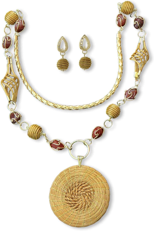 NOVICA Agate Gold Plated Jewelry Set, Jalapão Enchantment'