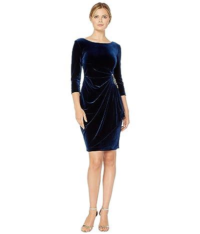Alex Evenings Short Velvet Dress with Beaded Hip Detail (Imperial) Women