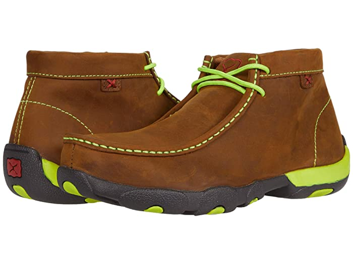Twisted X  MDMST02 (Distressed Saddle/Neon Yellow) Mens Shoes