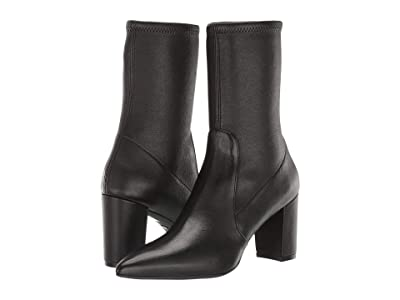 Stuart Weitzman Landry 75 Sock Bootie (Black Stretch Nappa) Women