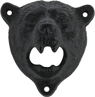 Cast Iron Wall Mount Grizzly Bear Teeth Bite Bottle Opener (Black)
