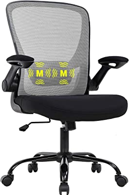 Amazon Com Ergonomic Home Office Chair Mesh Computer Chair Massage Function Lumbar Support Modern Executive Adjustable Stool Rolling Swivel Mid Back Task Chair For Back Pain Best Home Office Chair Grey Kitchen