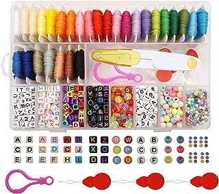 Peirich Friendship Bracelet Making Beads Kit, Letter Beads,22 Multi-Color Embroidery Floss Over 1900pcs