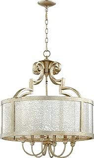 Quorum Lighting 6481-6-60, Champlain Large Drum Pendant, 6LT, 120 Watts, Aged Silver Leaf