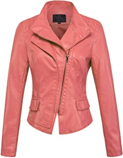 895c1f7b0a09 chouyatou Women s Stylish Oblique Zip Slim Faux Leather Biker Outerwear  Jacket