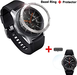 Five Star Online Bezel Cover Loop Stainless Steel Compatible with Galaxy Watch 46mm/Gear S3 Frontier & Classic with Tempered Glass Screen Protector for Galaxy Watch 46mm Accessory