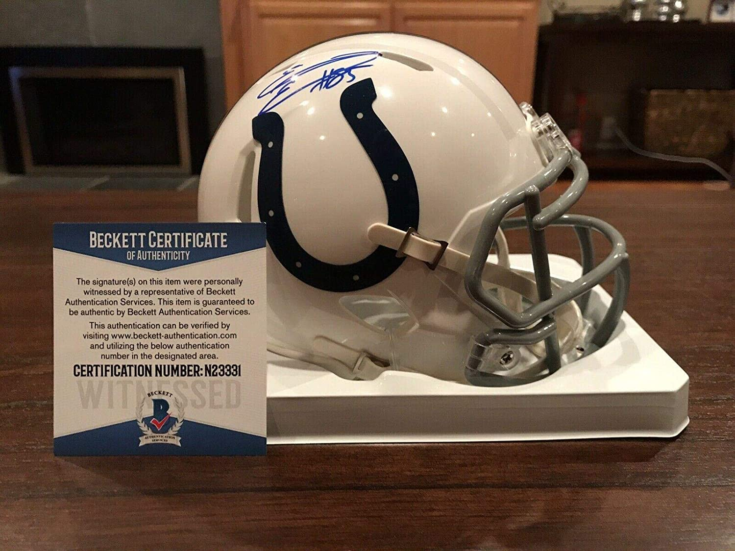Eric Ebron Autographed Mini HelmetColt Riddell Speed Witness BeckettBeckett AuthenticationAutographed NFL Mini Helmets