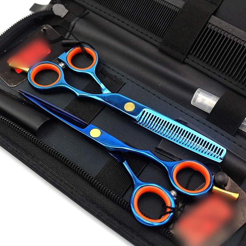 悲惨ガチョウパイ5.5インチプロフェッショナル両面ヘアカットセット、ブルー理髪はさみセットフラットシザー+歯シザーセット モデリングツール (色 : 青)