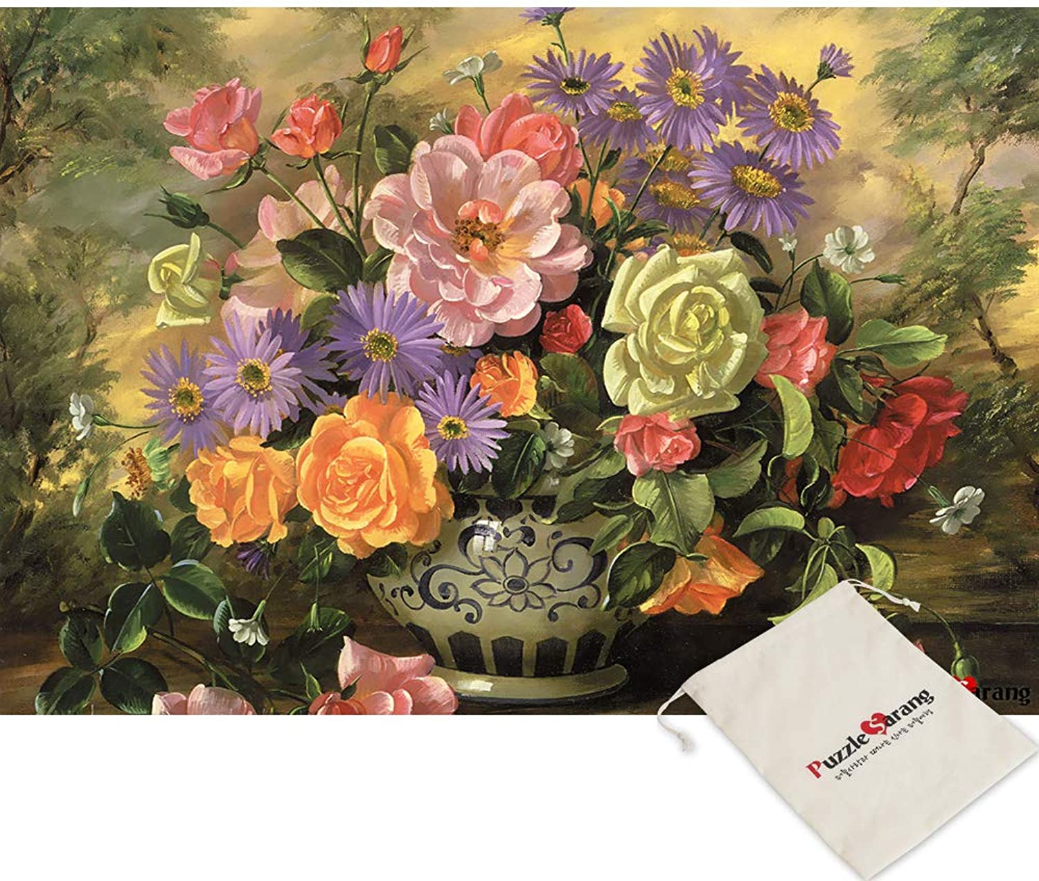 Chamberart Vases pinks - 1000 Piece Jigsaw Puzzle [Pouch Included]