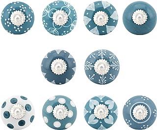 India Artistic Set de 10 boutons faits à la main bleu grisâtre et blanc | Boutons d'armoire en céramique | Tiroir Tire Poi...