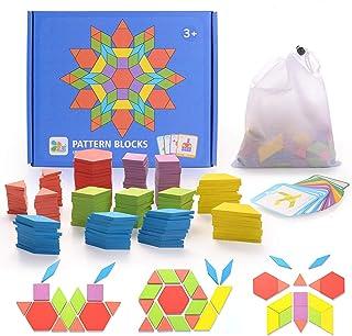 HellDoler Puzzle en Bois Jouets 155 Piècess Tangrams Blocs de Modèle Classiques Jouets Montessori Jouets éducatifs avec 24...