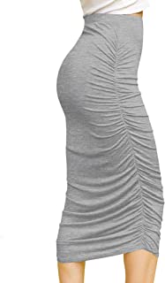 Women's High Waist Bodycon Slim Fit Ruched Frill Ruffle Midi Long Pencil Skirt - Made in USA
