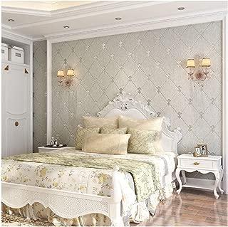 QIHANG European Modern Simple 3D Non-Woven Imitation Deerskin Wallpaper Living Room TV Background Diamond Lattice Pattern Wall Paper Roll 1.73'(0.53m)32.8'(10m)=57 sq.ft(5.3m2) (Light Gray)