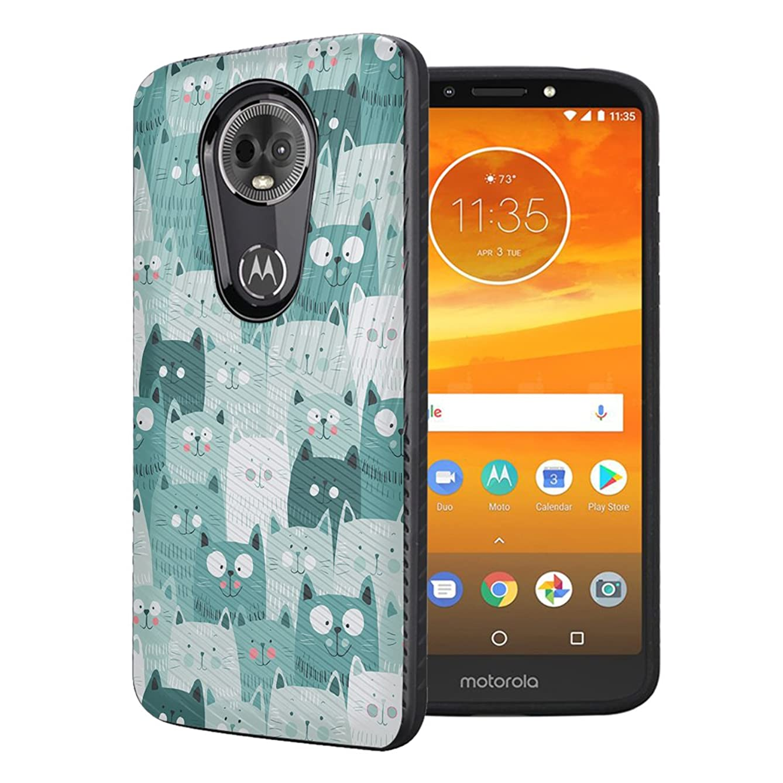 Moriko Case Compatible with Moto G7 Power, Moto G7 Supra [Embossed Diagonal Lines Hybrid Slim Armor Black Case] for Motorola Moto G7 Power - (Green Cat)