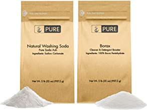 Laundry Booster Kit by Pure Organic Ingredients (2 lbs each) Borax & Natural Washing Soda, Eco-Friendly Packaging, Multi-Purpose Cleaners & Detergent Boosters