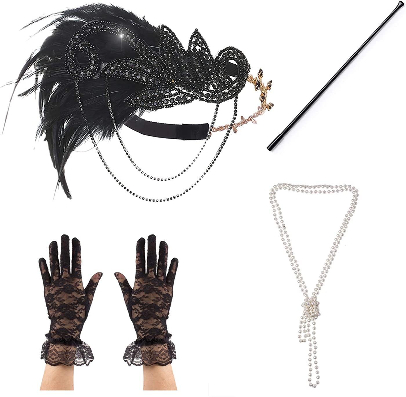 4pc Peacock OFFicial mail order Feather Flapper Headpiece Spasm price Great Headband Cost Gatsby