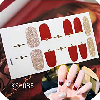 14tips/sheet Glitter Nail Art Sticker Manicure Tips Full Cover Wraps Nail Foils DIY Adhesive Decals,KS085