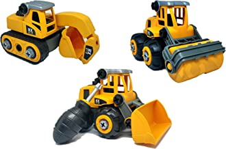 Shopoflux® Excavator, Bulldozer & Roller Construction Toy Vehicle, Unbreakable Assembly Toys with Screwdriver (Pack of 3) ...