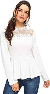 Romwe Women's Lace Mesh Round Neck Pleated Elegant Slim Fit Peplum Top Shirt Blouse