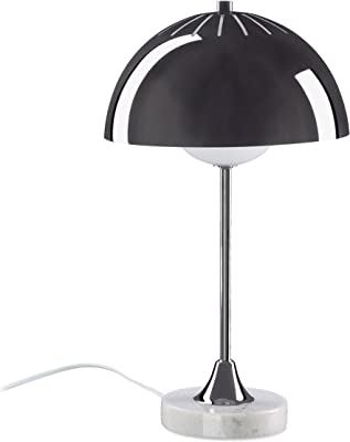 Relaxdays Lampe de table à lumière indirecte abat-jour demi-rond métal socle en marbre bureau, anthracite