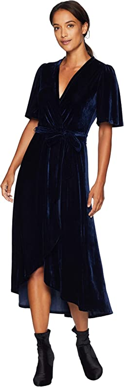Velvet Faux Wrap Dress with Flutter Sleeve