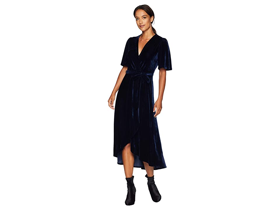 Donna Morgan Velvet Faux Wrap Dress with Flutter Sleeve (Uniform Navy) Women