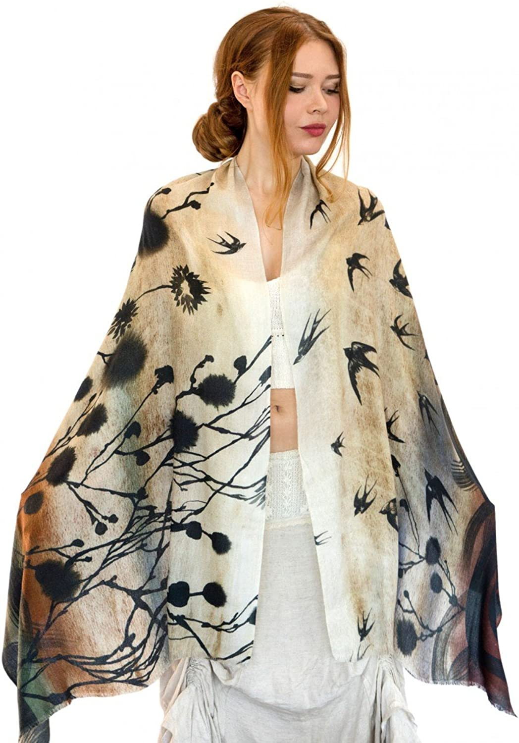 Delicately Hand Painted Birds Shawl & Digitally Printed on Silk & Cashmere Shawl