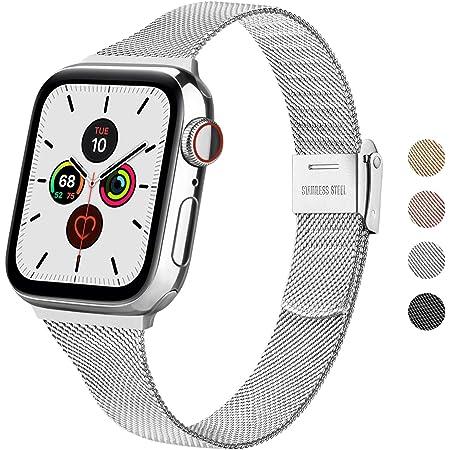 Wanme Correa Compatible con Apple Watch Correa 44mm 42mm 40mm 38mm, Estrecha y Fina Pulsera de Repuesto de Acero Inoxidable Hebilla de Metal para iWatch Series 6 5 4 3 2 1 SE (38mm/40mm, Plata)