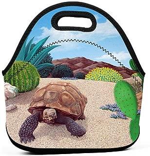SuperJK Desert Tortoise Snake Cactus Lunch Tote Bag Gift for Students/Office/Worker - Thermal & Cooler Snacks Holder, Soft Neoprene Leak-Proof and Non-Toxic Lunch Boxes for Work School Office