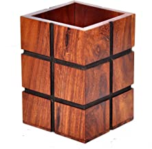 Hashcart Indian Rosewood Decorative Design Wooden Pen, Pencil Holder Handmade Traditional Storage Organiser for Desk, Office, Home Gift for Birthday.